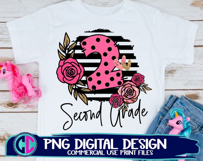 Featured listing image: 2nd grade sublimation png, Print File for Sublimation Or Print, teacher png, back to school sublimation , 2nd grade png, back to school png