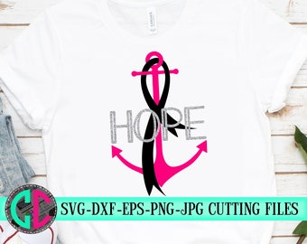 Hope Anchor svg,Breast Cancer svg,Cancer Survivor svg,Pink svg,Fight for the Cure,Breast Cancer,silhouette,tshirt svg,cameo,svg for cricut
