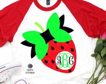 strawberry monogram svg,svg for cricut,monogram circle svg,svg circle monogram,circle cut file,bow svg,silhouette cut file,circle svg