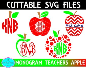 Teachers Apple SVG,Teachers Apple SVG,Teacher, Teachers Gift, Apples Monograms,Teachers Monogram,Cricut Designs,Silhouette Designs