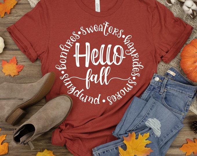 Featured listing image: Hello Fall Svg, Fall Svg, Fall Quote, Seasons, Fall Saying, Fall Svg Designs, Fall Cut Files, Cricut Cut Files, Silhouette Cut Files