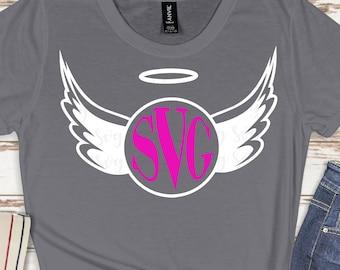 Angel Wings Monogram,Angel Wings svg,Svg Monogram Angel,Monogram Wings,tshirt svg,cut files, cricut svg, svg for mobile, mobile svg