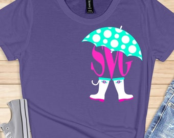 rain boots svg,umbrella svg,umbrella monogram,monogram shirt,monogram svg,Monogram Svg Designs, Monogram Cut File, cricut svg