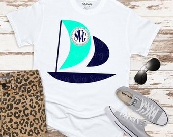Sailboat SVG,Circle Monogram svg,preppy svg, Sailing svg, Sailboat svgs, sailboat, Monogram Svg Designs, Monogram Cut File, cricut svg