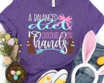 Easter Svg, A balanced diet is chocolate in each hand svg, bunny svg, Easter bunny svg, Jesus svg, Easter svg design, Easter cut file