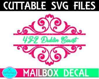 Swirl Split Mailbox Frame SVG,Ornament Clip Art,Monogram Frame,Mailbox Decal,Mail Box Decal,Cricut Designs,Silhouette Designs