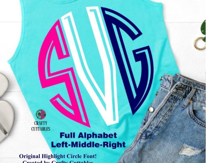 Featured listing image: Highlight Circle Monogram Font,Cuttable Fonts,circle monogram svg,font svg,monogram font,monogram circle letter svg,Cricut circle font svg