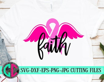 Faith wings svg,Breast Cancer svg,Cancer Survivor svg,Pink,Fight for the Cure,Breast Cancer,silhouette,tshirt svg,cameo,svg for cricut