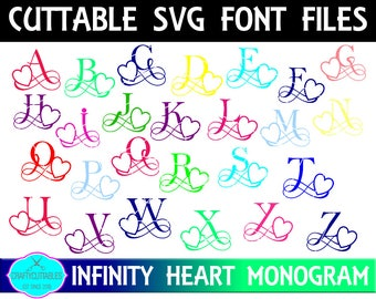 Heart Monogram Font SVG,Heart font,Fonts, Infinity Heart font, Heart Monogram,Cricut Designs, Silhouette Designs