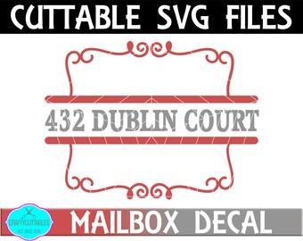 Split Square Mailbox Frame SVG,Ornament Clip Art,Monogram Frame,Mailbox Decal,Mail Box Decal,Cricut Designs,Silhouette Designs