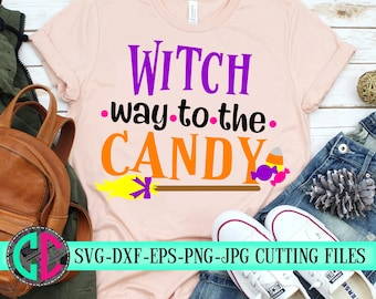 Witch way to the candy,witch svg,candy svg,Halloween candy svg,halloween svg,witch candy,broom svg,tshirt,cameo,svg for cricut,halloween svg