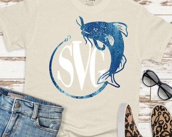 Catfish Monogram,Cat fishing svg,Tshirt svg,Svg Monogram Fish,Monogram Catfish,Monogram svg,cut file, cricut svg, svg for mobile, mobile svg