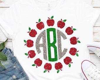 Apple Monogram SVG,Tshirt svg,Teacher Apple svg,circle monogram,monogram frame,Apple svg,Crafty Cuttables,Cricut Designs,Silhouette Design