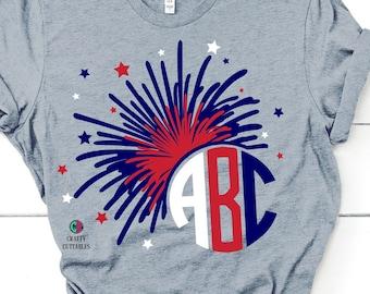 fireworks monogram svg,july forth svg,Fireworks,monogram firework svg,4th of July, America,Patriotic,svg for cricut,Independence day svg
