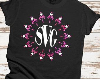 monogram flower svg, circle monogram svg,valentine svg, monogram svg, heart monogram svg, cut files, cricut svg, svg for mobile, mobile svg
