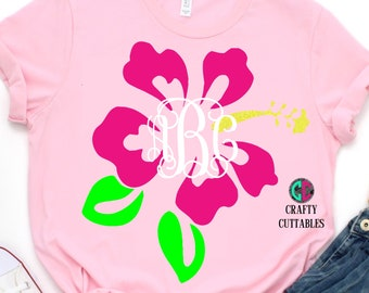 flower monogram svg,beach monogram svg,Hawaiian flower monogram,Hawaiian flower svg,monogram beach svg,Cricut Designs,Silhouette Designs
