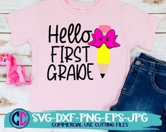 hello 1st grade svg, Pencil svg, school svg, first grade svg, teacher svg, bow svg, pencil bow,1st grade svg, back to school svg, school svg