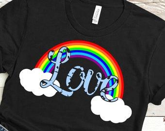 Grunge Love Rainbow svg,Rainbow svg,Love svg,Love Pride Rainbow,Pride svg,Distressed tshirt,crafty cuttables,Cricut Design,Silhouette Design