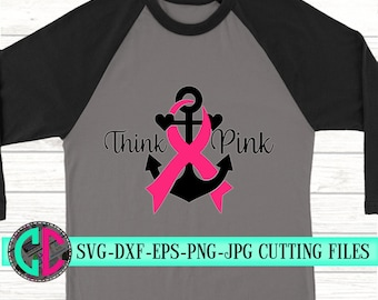 anchor breast cancer svg, cancer survivor svg, breast cancer svg, anchor svg, awareness svg, think pink svg, svg for cricut, silhouette dxf