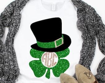 Leprechaun Hat Monogram svg,Shamrock Monogram svg,Leprechaun Hat,St.Patricks svg,svg Tshirt,crafty cuttables,Cricut Design,Silhouette Design