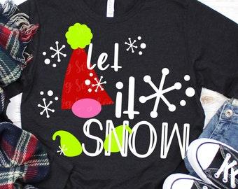 let it snow gnome csvg, snow svg, gnome svg,let it snow svg, christmas, svg,, dxf, svg files,svg for Cricut Designs,Silhouette Design