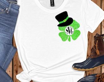Leprechaun Hat Monogram svg,Shamrock Monogram svg,Leprechaun Hat,St.Patricks svg,cut files, cricut svg, svg for mobile, mobile svg
