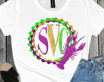 Monogram crawfish Svg,Mardi Gras Monogram,mardi gars crawfish, svg crawfish svg,Mardi Gras Svg Designs, Mardi Gras Cut File, cricut svg