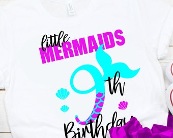 My 9th Birthday Mermaid Svg, Eps, Png,Clipart, Cut File, Mermaid Birthday Svg, Mermaid Girl Svg, svg for Cricut, Mermaid Vibes, Birthday Svg