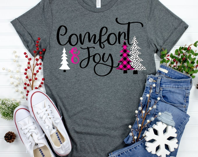 Featured listing image: comfort and joy svg, christmas tree svg, plaid svg, cheetah christmas tree svg, Christmas svg designs, Christmas cut file, svg for cricut
