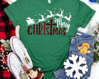 merry christ mas plaid santa svg, plaid santa svg,buffalo plaid santa sleigh svg,plaid christmas svg,Christmas svg design,Christmas cut file