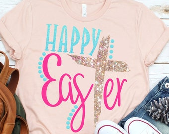 Happy EasTer svg,Easter Cross svg,He is Risen svg,Easter saying svg,Jesus svg,Christian svg,Easter shirt,crafty cuttables,digital download
