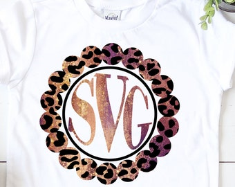 leopard print Monogram svg,Monogram leopard svg, pearl monogram svg,circle monogram svg,Monogram Svg Designs, Monogram Cut File, cricut svg