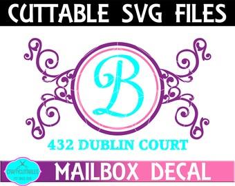 Vine Mailbox Frame SVG,Ornament Clip Art,Monogram Frame,Mailbox Decal,Mail Box Decal,Cricut Designs,Silhouette Designs