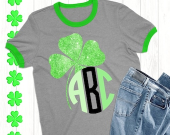 Clover Monogram svg,St.Patrick's Day svg,Clover svg,St.Patrick's svg,St.Patty's Day Tshirt,crafty cuttables,Cricut Design,Silhouette Design