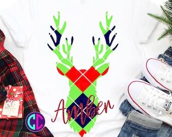 argyle plaid deer svg, easy weed svg, Svg files for Cricut, deer head Svg, argyle plaid svg, tshirt svg, Christmas svg, bow svg, Iron On
