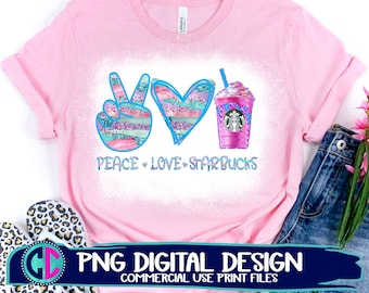 Peace Love Starbucks PNG, unicorn Starbucks PNG, Peace Starbuck Sublimation Design, Starbuck Coffee PNG, Coffee Sublimation Digital Download