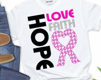 Breast Cancer svg, Hope Love Faith Breast Cancer Awareness SVG, Cancer Survivor svg,cut files, cricut svg,svg for mobile,mobile svg
