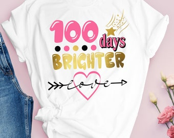 100 Days Brighter Svg, Girl 100 Days of School Svg, 100 Days Smarter, 100 Days Shirt Svg, School Kids Svg Cut File for Cricut, Png, Dxf