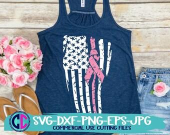 Breast Cancer svg, grunge American flag Breast Cancer SVG, Cancer Survivor svg, cancer cut files, cricut svg, breast cancer svgs