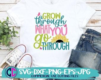 Summer svg, sunflower svg, grow through what you go through svg, sunflowers svg, summertime svg, Summer Svg Design, Summer Cut File, cricut