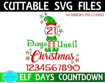 Count Down To Christmas SVG,Christmas Countdown svg,Countdown To Christmas,Christmas Elf svg,Count Down svg,Cricut Design,Silhouette Designs