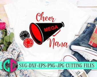 Megaphone Cheer nana svg, Cheerleader nana svg, cheerleader svg, football SVG,  cheerleader cut file, Football nana SVG, svg for cricut