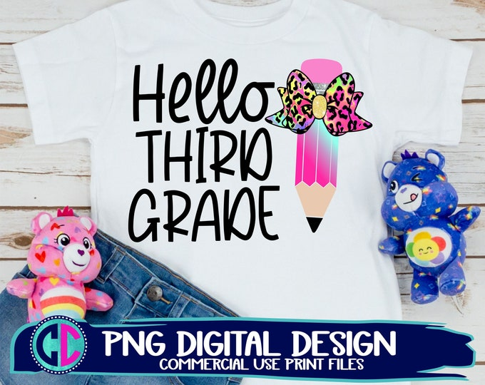 Featured listing image: hello 3rd grade png, Print File for Sublimation Or Print, teacher png, back to school sublimation , 3rd grade png, back to school png