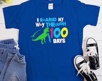 roared through 100 days svg, 100th day svg, teacher svg, dinosaur 100 days svg, 100 days svg, 100 day of school, eps,png,dxf, svg for Cricut