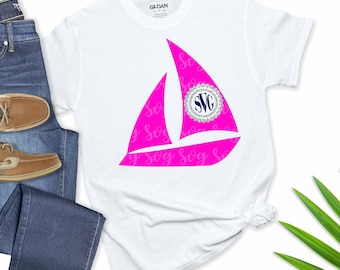 monogram Sailboat SVG,Circle Monogram svg,preppy svg, Sailing svg, Sailboat svgs,Monogram Svg Designs, Monogram Cut File, cricut svg