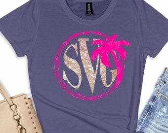monogram beach svg, palm tree svg, Summer svg,Summer quotes svg, palm tree, summertime svg, cut file, cricut svg, svg for mobile, mobile svg