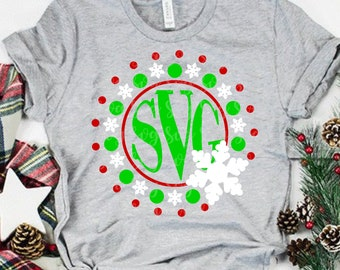 monogram snowflake svg, Monogram svg,Christmas Shirt svg,circle monogram svg, Christmas Svg Design, Christmas Cut Files, svg for cricut