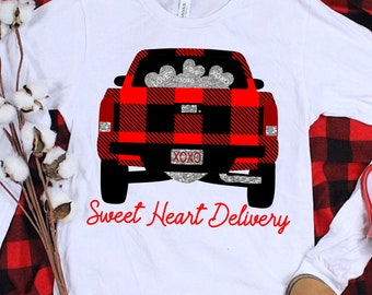 plaid sweet heart delivery svg,t, plaid svg,little red truck svg, heart,svg for cricut,Valentine Svg Designs,Valentine Cut File,cricut svg