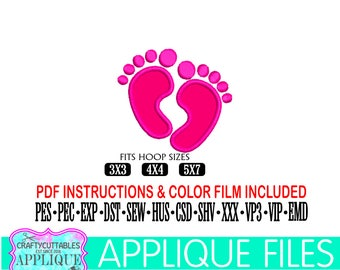 Baby Feet Applique,Baby Applique,Baby Embroidery,Baby Foot Applique,New Baby Foot Embroidery,Applique File,Cricut Designs,Silhouette Designs