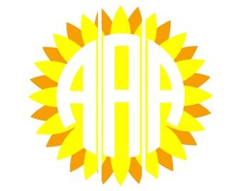 Sunflower Circle Font,Circle Monogram,fonts,Circle font,circle svg,circle monogram png,monogram circle,Cricut Designs,Silhouette Designs